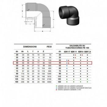21.11 Gomito 90° In Pe100 ø40 Pn25 elettrosaldabile 2111250040AA - A saldare per tubi PED/PEHD