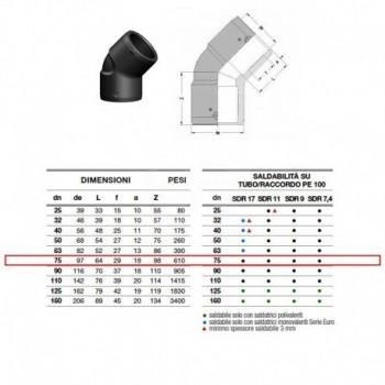 21.16 Gomito 45° In Pe100 ø75 Pn25 elettrosaldabile 2116250075AA - A saldare per tubi PED/PEHD