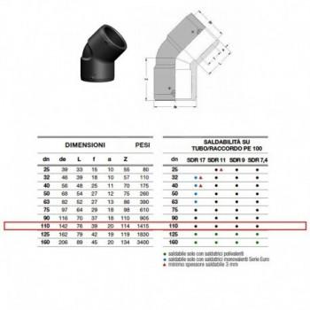 21.16 Gomito 45° In Pe100 ø110 Pn25 elettrosaldabile 2116250110AA - A saldare per tubi PED/PEHD