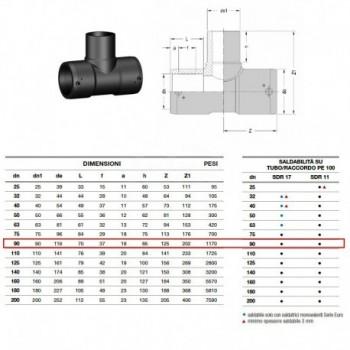21.21 Raccordo Tee 90° Pe100 ø90 Pn16 elettrosaldabile 2121160090 - A saldare per tubi PED/PEHD