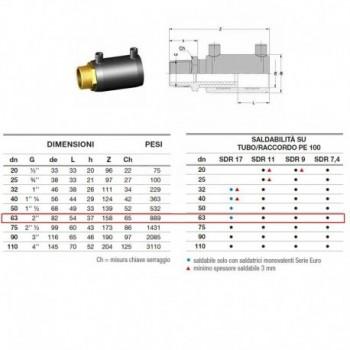 Manicotto elettrosaldabile di transizione D. 63 M 2161160063 - A saldare per tubi PED/PEHD