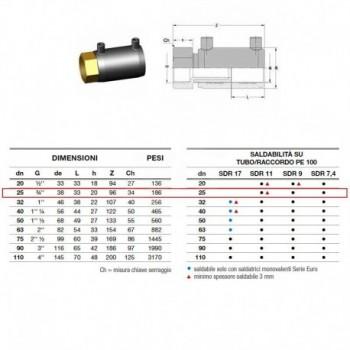 Manicotto elettrosaldabile di transizione D. 25 F 2162160025 - A saldare per tubi PED/PEHD