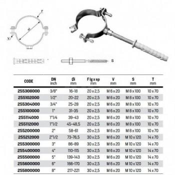 """Collare fissaggio tubo con dado puntato ø4"""" 255400000 RAC255400000"""