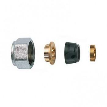 8427 KIT di tenuta in gomma a compressione per tubo rame Ø 14, calotta cromata RFR8427 14