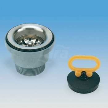 Piletta senza troppo-pieno per lavelli inox con griglia estraibile.  Ø 60 mm. LIR1912.000