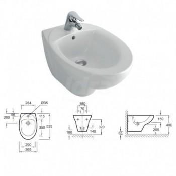 Patio bidet sospeso (53,5x36,5 cm). Bianco KLR4189W-00
