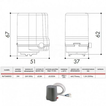 Testa elettromagnetica 24V NC MT.0,6 EX R479M GIMR473MX002