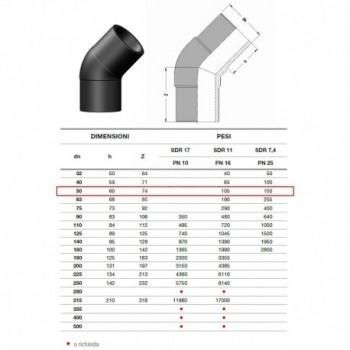 20.15 Gomito 45° In Pe100 Sdr11 ø50Mm Pn16 2015160050 - A saldare per tubi PED/PEHD