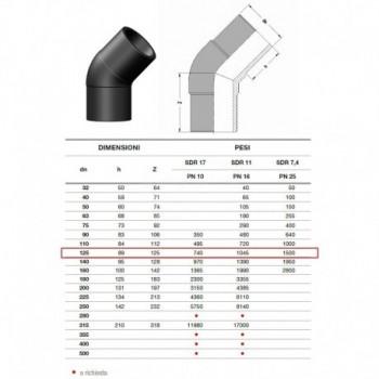 20.15 GOMITO 45° IN PE100 SDR11 ø125mm PN16 2015160125 - A saldare per tubi PED/PEHD