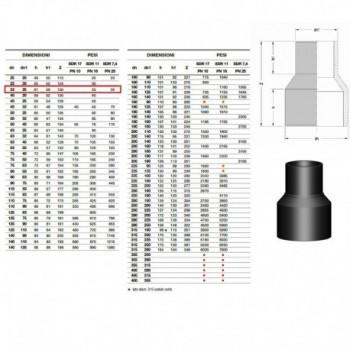 20.50 Riduzione In Pe100 Sdr11 ø32X25Mm Pn16 2050163225 - A saldare per tubi PED/PEHD