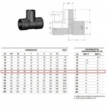 21.21 Raccordo Tee 90° Pe100 ø75 Pn16 elettrosaldabile 2121160075 - A saldare per tubi PED/PEHD