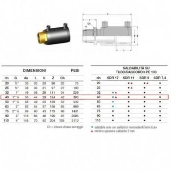 Manicotto elettrosaldabile di transizione D. 40 M 2161160040 - A saldare per tubi PED/PEHD