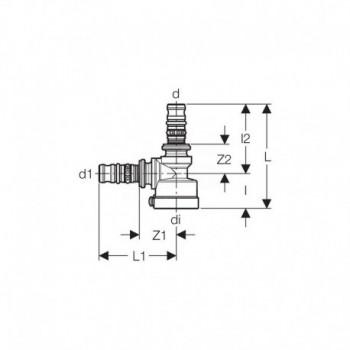 Raccordo a T 90° Mepla d.16-16mm per collettore Compact 612.429.00.5 - Collettori di distribuzione