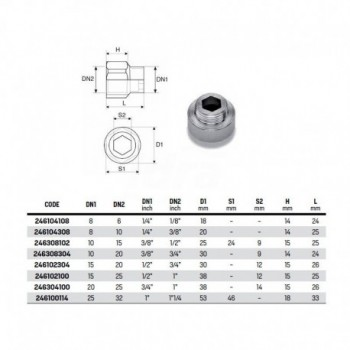 """Manicotto ridotto MF (prolunga ridotta) mm 15 zincata ø1/2""""Mx1"""" F 246102100 - In acciaio zincato filettati"""
