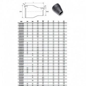 Riduzione concentrica da tubo senza saldatura ø273x219,1 RAC276273219