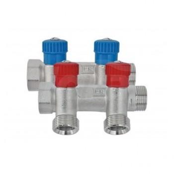 """Colletore satinato con rubinetti inclinati xek3/4"""" x 2 vie VT-200502-R - Collettori di distribuzione"""