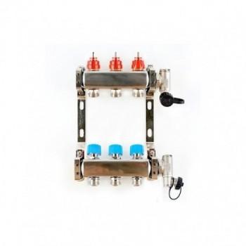 """Collettore inox con misuratori di portata 1""""x3/4 EK 3+3 3703 - Collettori di distribuzione"""
