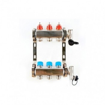 """Collettore inox con misuratori di portata 1""""x3/4 EK 8+8 3708 - Collettori di distribuzione"""