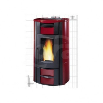 Termostufa a pellet con rivestimento esterno in maiolica MARTA IDRO 2.0 colore rosso bordeaux DZT001274910