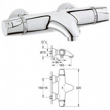 G3000  Miscelatore per Vasca da Bagno Termostatico GRO34185000