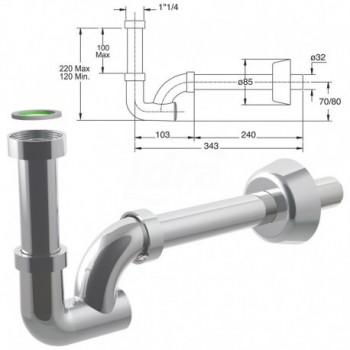 KAPPA sifone ispezionabile per lavabo e bidet 0470OT25K7 - Sifoni in ottone