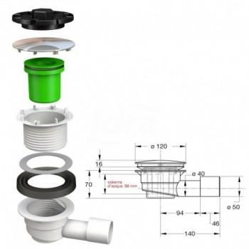 DOCCIONE sifone per piatti doccia con foro ø 90 mm BON5280AB12B7
