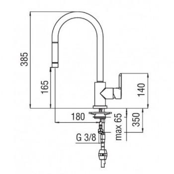 ABC miscelatore monocomando lavello + Doccetta estraibile 1G cr NOBAB87137/1CR