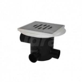 Pozzetto a pavimento in PE a tre entrate completo di distanziale, Valvola antirigurgito e griglia inox. 150mm COEF03SF1110
