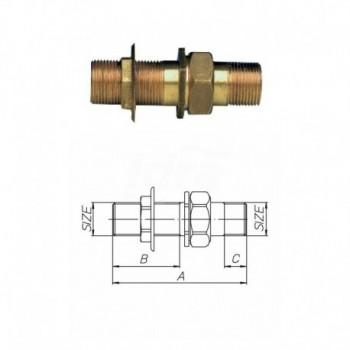 """H0061 Raccordo diritto per cassone, sabbiato. - 3/4"""" - ISO H0061S05 - In ottone filettati"""
