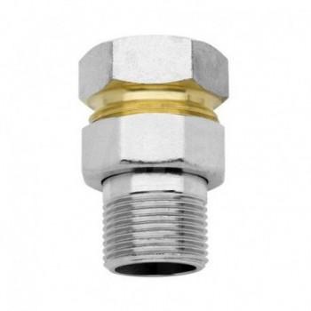 Raccordo per connessione tubazione al collettore / Raccordo diritto in tre pezzi, tipo pesante. 00580600 - In ottone filettati