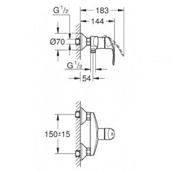 EUROSMART NEW 33555 GROHE Eurosmart Miscelatore rubinetto per doccia 33555002