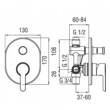 ABC Miscelatore rubinetto monocomando incasso doccia con deviatore cr AB87100CR - Gruppi per docce