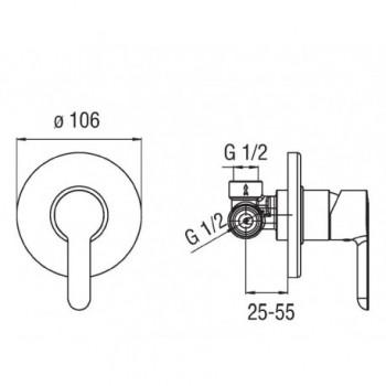 ABC Miscelatore rubinetto monocomando incasso doccia cr AB87108CR - Gruppi per docce