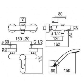 ABC miscelatore monocomando esterno V/D C/DUPLEX cr NOBAB87110CR