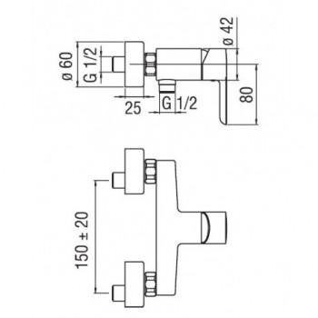 ABC miscelatore monocomando esterno doccia cr NOBAB87130CR
