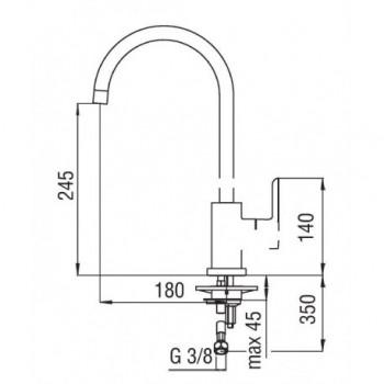 ABC Miscelatore rubinetto monocomando lavello CANNA OMBR. GIR. cr AB87133CR - Per lavelli