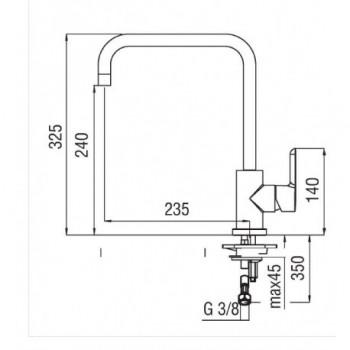 ABC miscelatore monocomando lavello CANNA U GIR. cr NOBAB87134CR