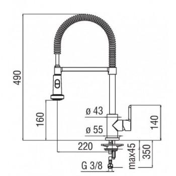 ABC Miscelatore rubinetto monocomando lavello + Doccetta orientabile 2G cr AB87300/3CR