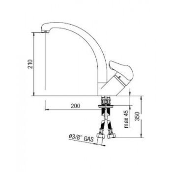 HERA Miscelatore rubinetto monocomando lavello H.210mm cr HE24113CR - Per lavelli