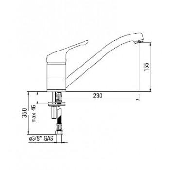 HERA Miscelatore rubinetto monocomando lavello H.155mm cr HE24113/1CR - Per lavelli