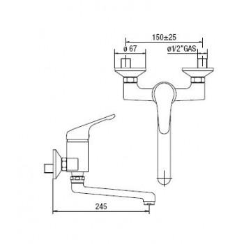 HERA Miscelatore rubinetto monocomando lavello PAR. cr HE24115CR