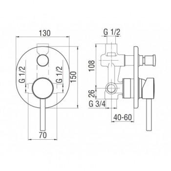 LIVE Miscelatore rubinetto monocomando incasso doccia+DEV. AUTOM. cr LV00100CR - Gruppi per docce