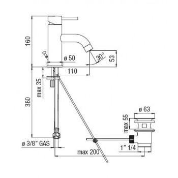 """LIVE Miscelatore rubinetto monocomando lavabo scarico ø1.1/4"""" cr LV00118/1CR - Per lavabi"""
