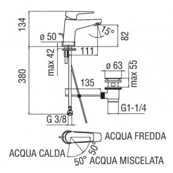 NOBI Miscelatore rubinetto monocomando lavabo ECO cr NBE84118/1CR - Per lavabi