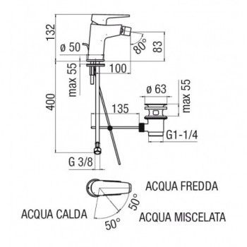 NOBI Miscelatore rubinetto monocomando bidet ECO cr NBE84119/1CR