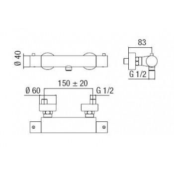 TAGO miscelatore termostatico esterno doccia cr NOBTG85330CR