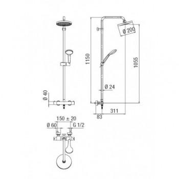 TAGO Colonna doccia termostatica esterno + Soffione ø200mm cr TG85330/30CR - Gruppi per docce