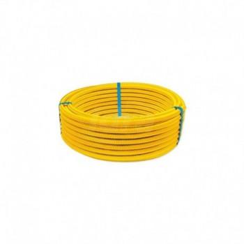 Tubi corrugati formabili CSST (Corrugated Stainless Steel Tubing) in acciaio INOX AISI 316L* per trasporto di gas con rivestimento protettivo giallo in LDPE. EURA01-0001-00693
