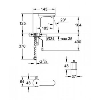 EUROSMART C. E 36327 Miscelatore elettronico per lavabo con comando ad infrarossi e limitatore di temperatura regolabile GRO36327001