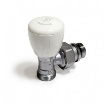 R431TG Valvola micrometrica termostatizzabile, a squadra, in ottone, cromata, con attacco per adattatore tubo rame, plastica ...